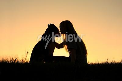 Quadro Alemão, pastor, cão, mostrado silhueta, contra, sunsetting, céu