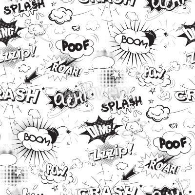 Fotomural Comic bolhas de discurso preto no estilo pop art padrão sem costura