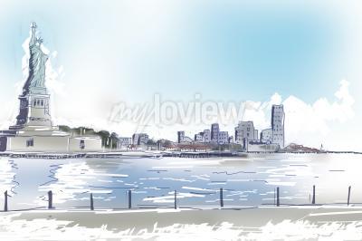 Quadro Linha ilustração da arte da estátua da liberdade e da Nova Iorque do centro em um dia ensolarado azul brilhante. Conceito de viagens e turismo