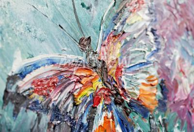 Quadro Closeup fragmento de pintura a óleo borboleta