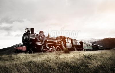 Fotomural Vapor, trem, abertos, campo, transporte