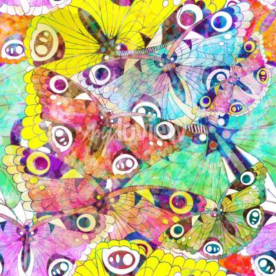 Quadro Seamless, Padrão, coloridos, borboletas