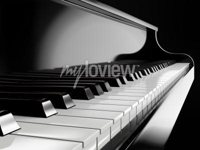 Quadro Piano, teclas, pretas, piano