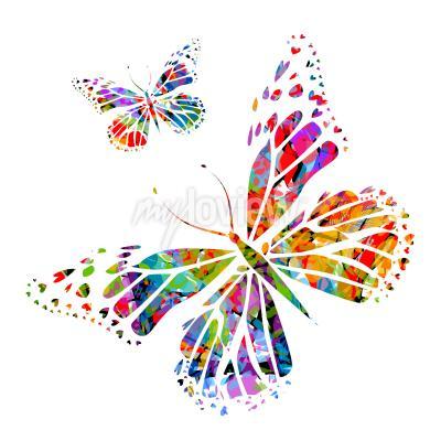 Fotomural Silhueta, borboleta, manchas, pintura
