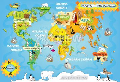 Fotomural Mapa do mundo dos miúdos