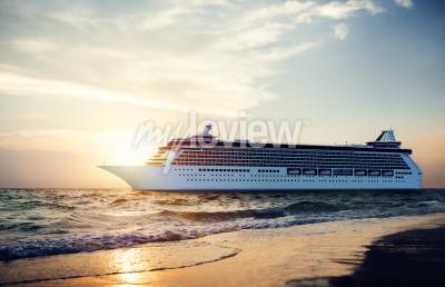 Fotomural Iate Navio de cruzeiro Mar Oceano Tropical Scenic Concept