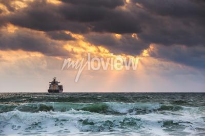 Fotomural Sol, armando, mar, velejando, cargueiro, navio