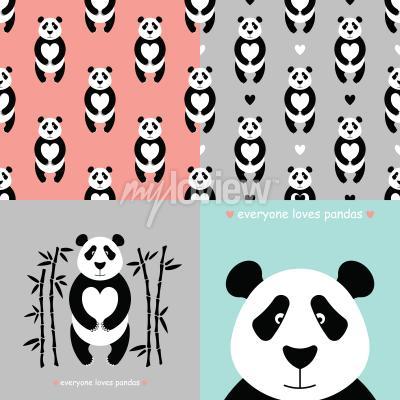 Fotomural Conjunto urso panda