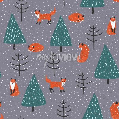 Quadro Raposas, Inverno, floresta, vetorial, seamless, Padrão