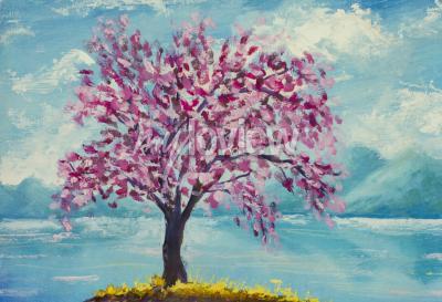 Quadro Sakura de florescência na pintura a óleo da água