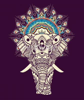 Quadro Seamless, mão, desenhado, mapa, elefante