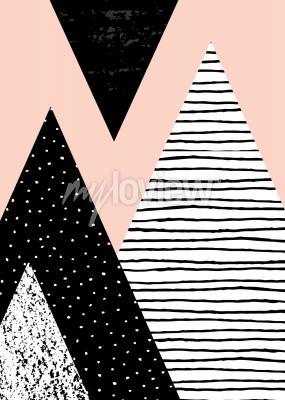 Fotomural Composição geométrica abstrata no branco preto e no rosa pastel