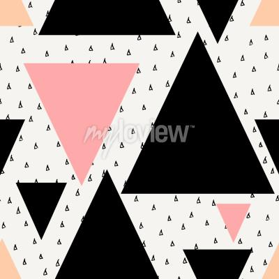Fotomural Teste padrão sem emenda geométrico abstrato da repetição no creme preto pastel cor-de-rosa e laranja