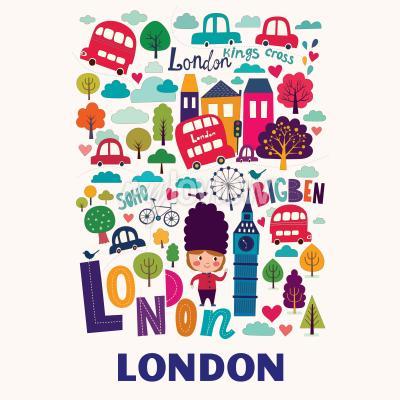 Fotomural Padrão com símbolos de Londres