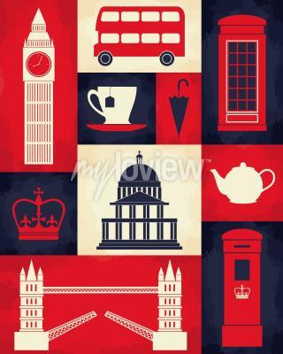 Poster Poster retro do estilo com símbolos e marcos de Londres