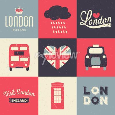 Poster Um jogo de cartões do estilo do vintage com símbolos de Londres