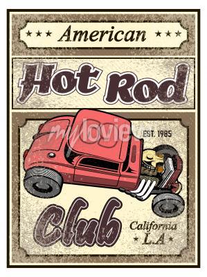 Poster Cartaz feito sob encomenda do carro do hot rod