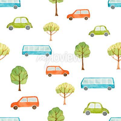 Fotomural Aquarela, seamless, Padrão, car, ônibus, árvores