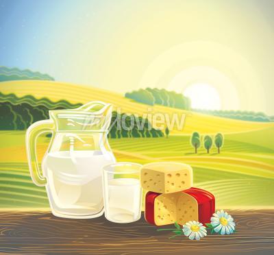 Poster Paisagem rural com conjunto de produtos lácteos