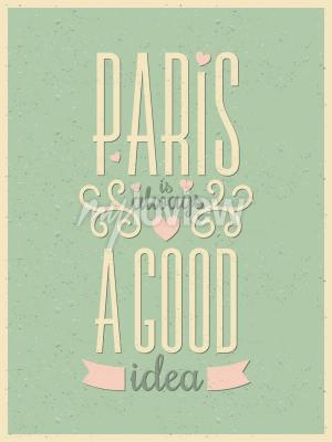 Fotomural Tipografia de estilo vintage Paris poster