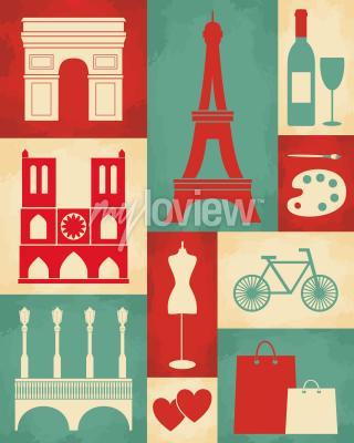 Fotomural Poster de estilo retro com símbolos e marcos de Paris