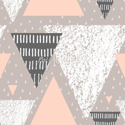 Fotomural Padrão de repetição geométrica abstrata abstrata em cinza branco e rosa pastel