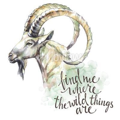 Quadro Cabra de aquarela com frase de inspiração escrita à mão