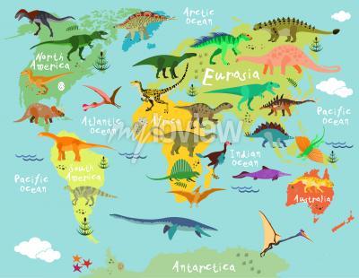 Fotomural Mapa dos dinossauros do mundo para crianças e crianças