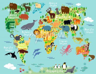Fotomural Mapa animal do mundo para crianças e crianças