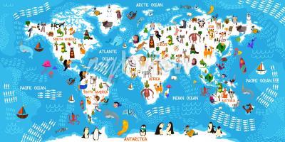 Fotomural Mapa mundial dos animais dos desenhos animados