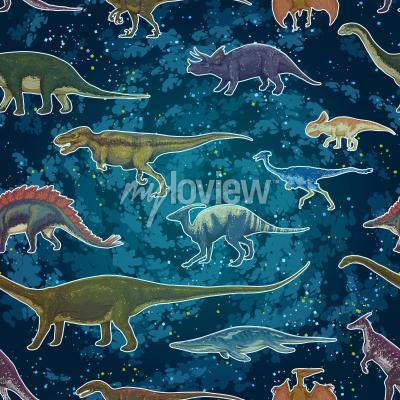 Fotomural Diplodocus Tyrannosaurus Rex Pterodactylus ... em padrão sem costura, ilustração vetorial desenhada à mão