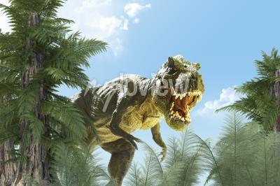 Fotomural Dinossauro no fundo da selva 3D render