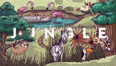 Fotomural Vida selvagem na selva com diferentes animais