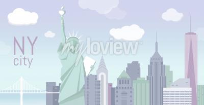Adesivo Edifícios e a estátua da liberdade
