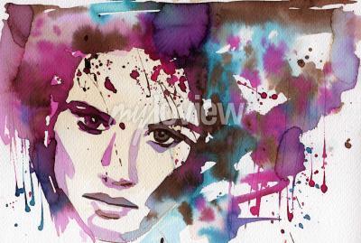Quadro Ilustração de aquarela para retratar o retrato da fantasia de uma jovem.
