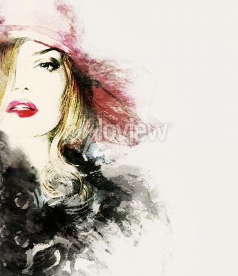 Quadro Estilo mulher retrato abstrato moda aquarela ilustração