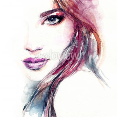 Poster Pintura de aquarela de cara de mulher abstrata