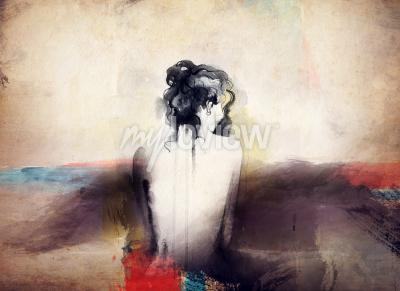 Quadro Retrato de mulher abstrato aquarela moda de fundo
