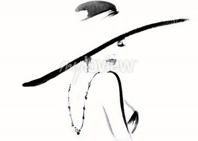 Quadro Retrato de mulher com ilustração de moda de chapéu