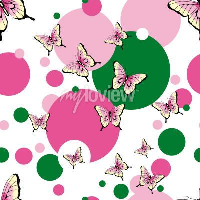 Fotomural Padrão de vetor sem costura de borboletas