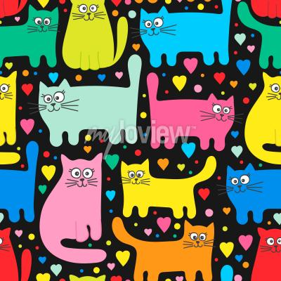 Fotomural Funny kittens and hearts