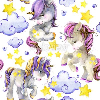 Fotomural Cute unicorn watercolor seamless pattern