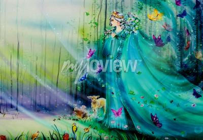 Fotomural Scenic view of fantasy world with fairies and ethereal animals