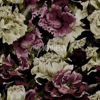Fotomural Seamless floral pattern with roses on dark background watercolor