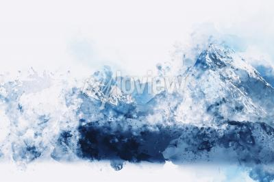 Quadro Abstract mountains in blue tone digital watercolor painting