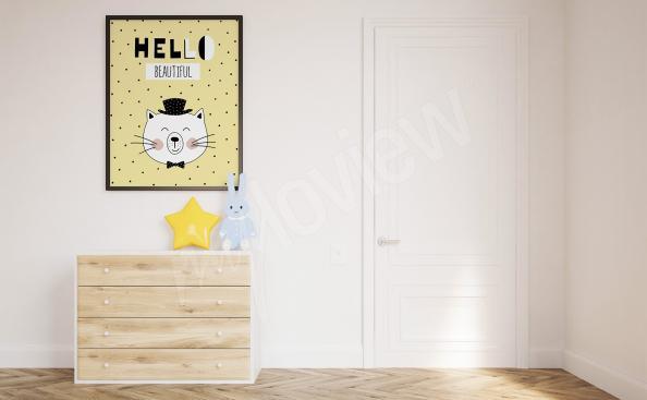 Póster para la habitación de un niño con un gato