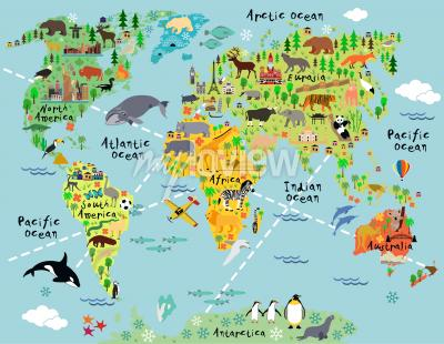 Fotomural Cartoon world map with landscape and animal