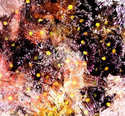 Quadro Abstract floral composition with small chrysanthemums on grunge striped blurred background