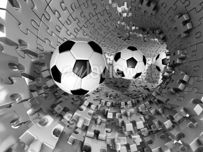 Fotomural 3d footballs in the tunnel
