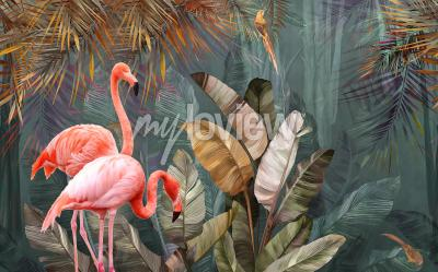 Fotomural Flamingo background design with tropical palm and banana leaves